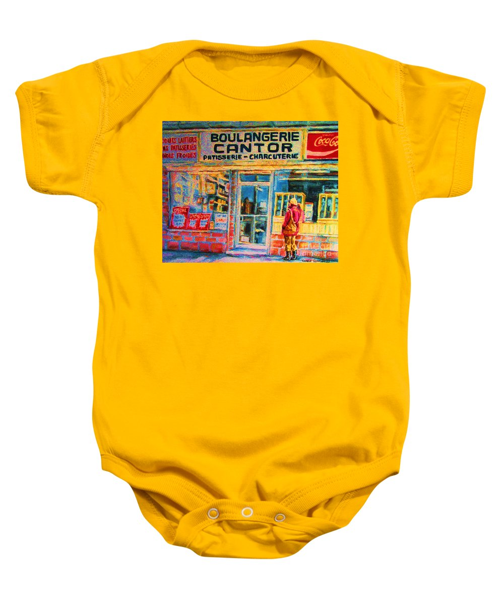 Cantors Baby Onesie featuring the painting Cantors Bakery by Carole Spandau
