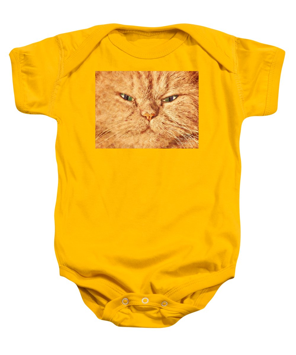 Face Baby Onesie featuring the photograph Cat Face Close Up Portrait. Painted Effect by Michal Bednarek