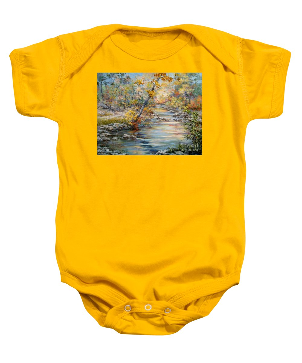 Landscape Baby Onesie featuring the painting Cedar Creek Trail by Virginia Potter