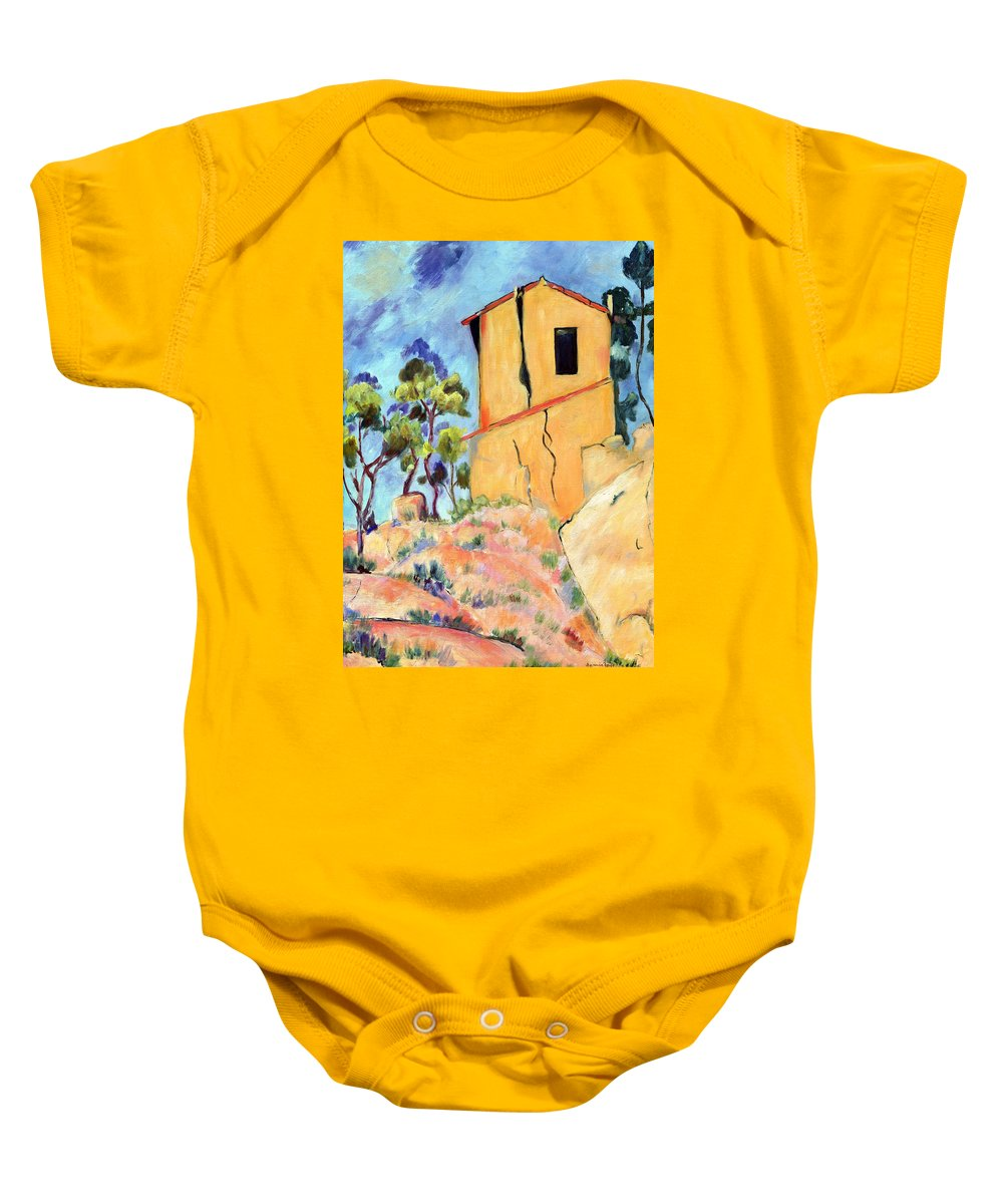 House Baby Onesie featuring the painting Cezanne's House With Cracked Walls by Jamie Frier