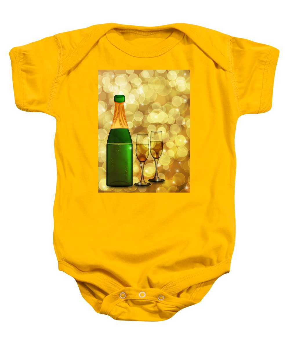 Champagne Baby Onesie featuring the digital art Champagne Bottle And Two Glass Flutes by Jit Lim
