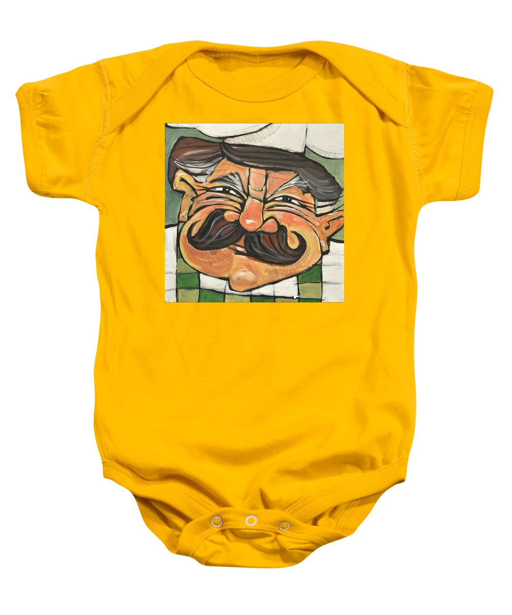 Chef Baby Onesie featuring the painting Chef Guido by Tim Nyberg