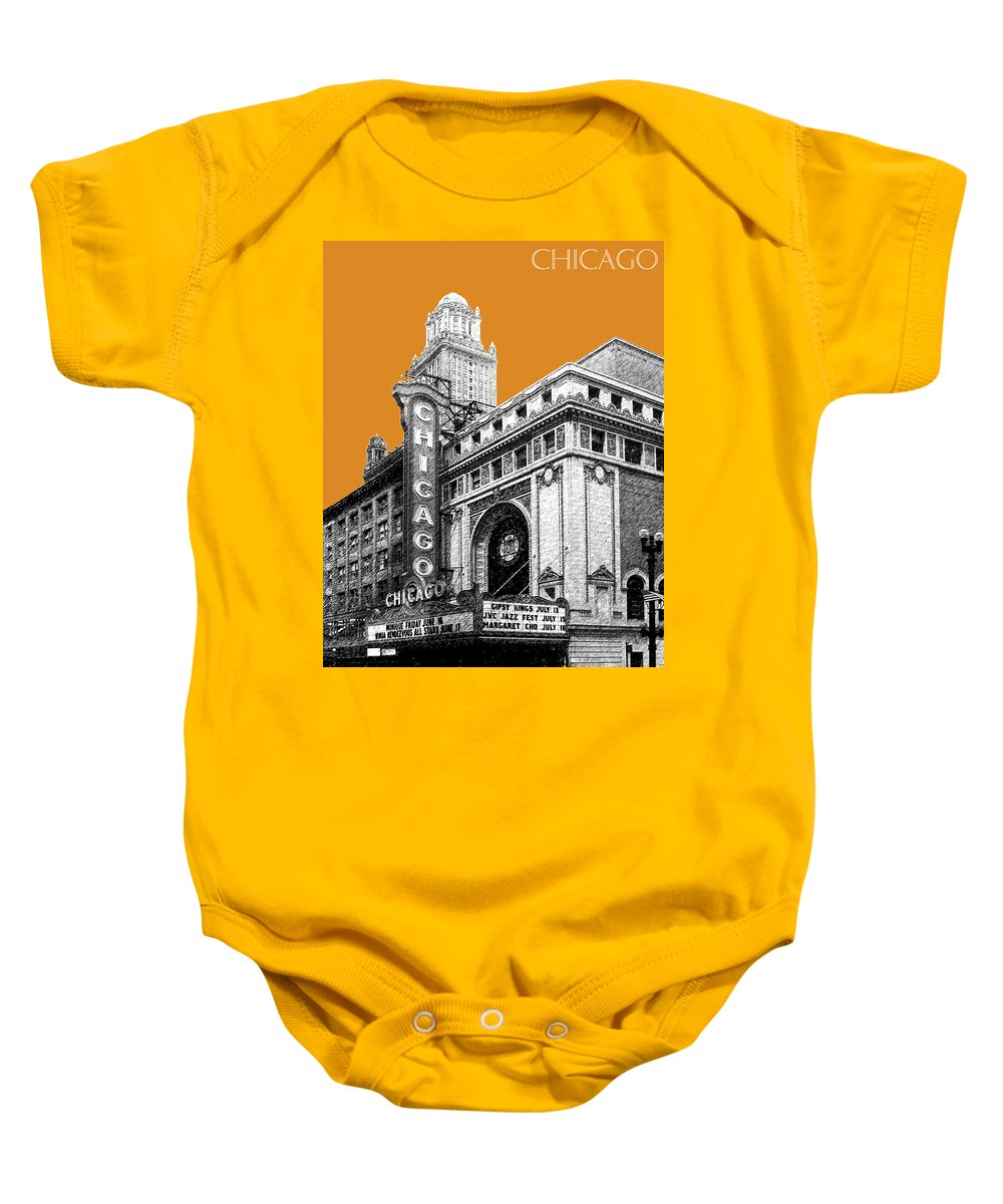 Architecture Baby Onesie featuring the digital art Chicago Theater - Dark Orange by DB Artist