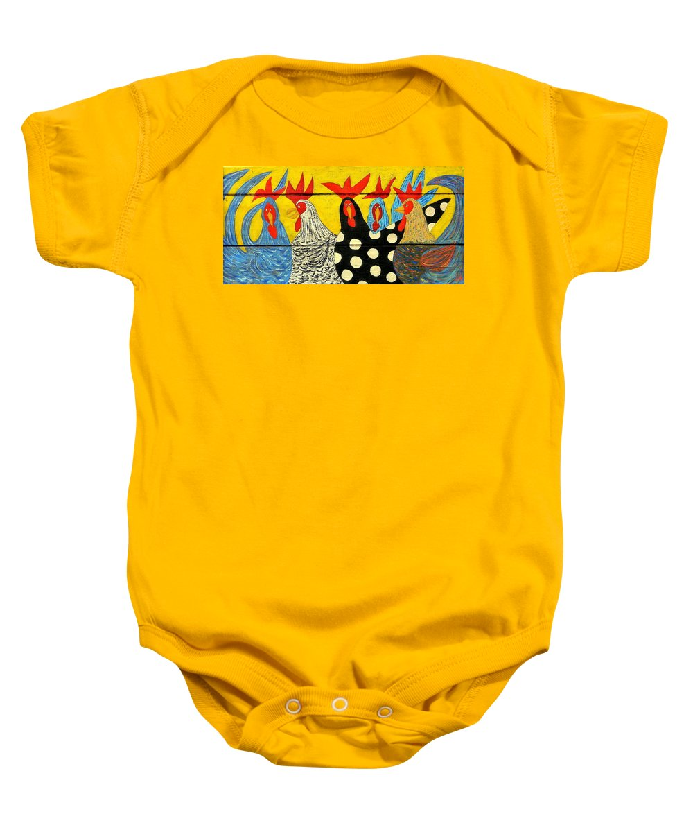 Chicken Baby Onesie featuring the painting Chicken Posse by John Blake