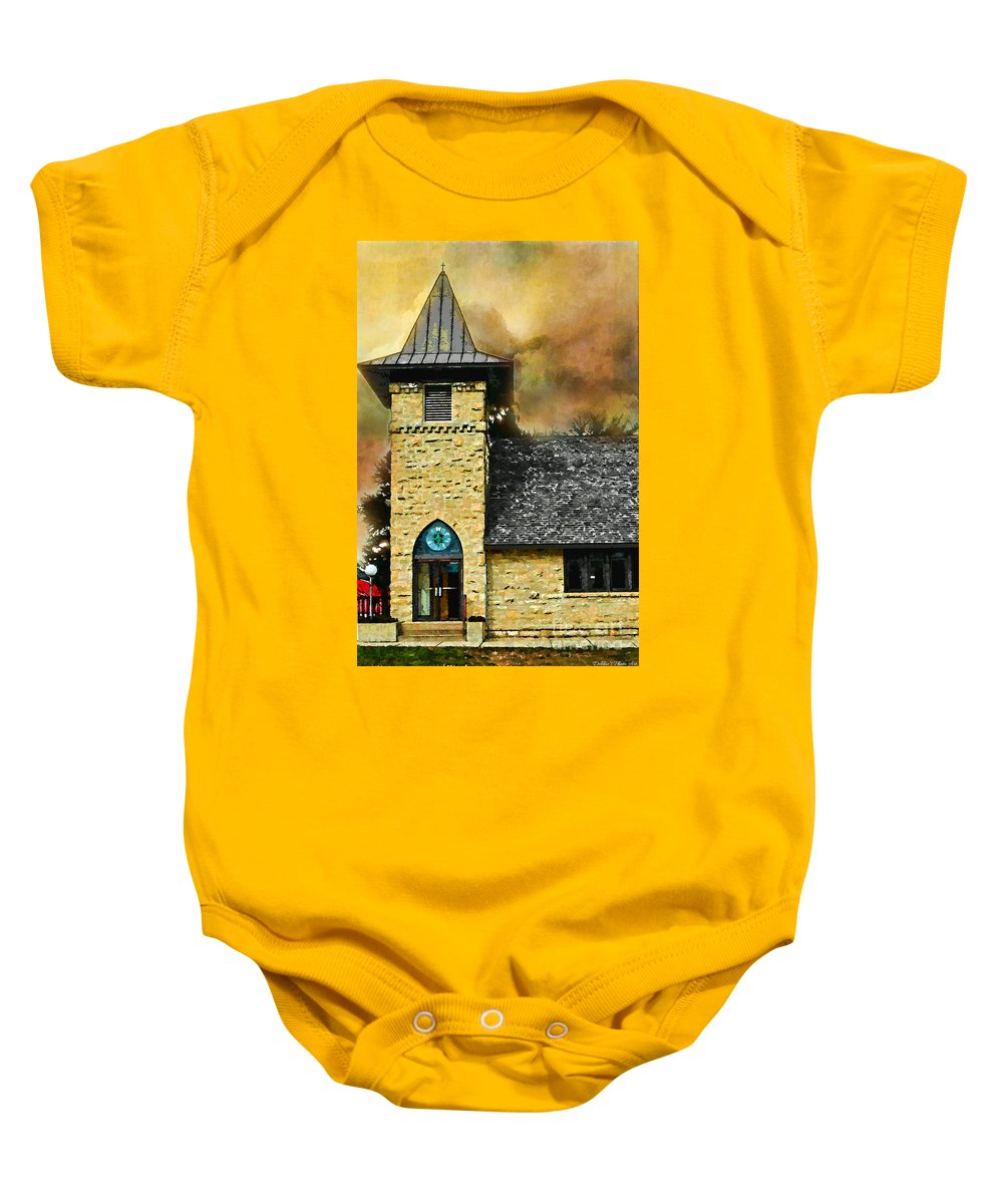 Arcitectur Baby Onesie featuring the photograph Church Painted Effect by Debbie Portwood