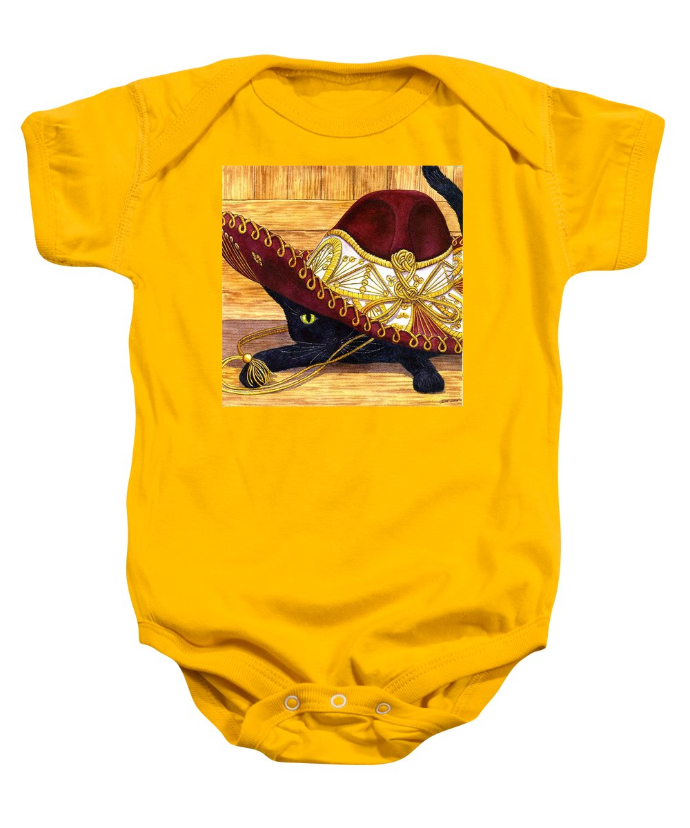 Cat Baby Onesie featuring the painting Cinco De Mayo by Catherine G McElroy