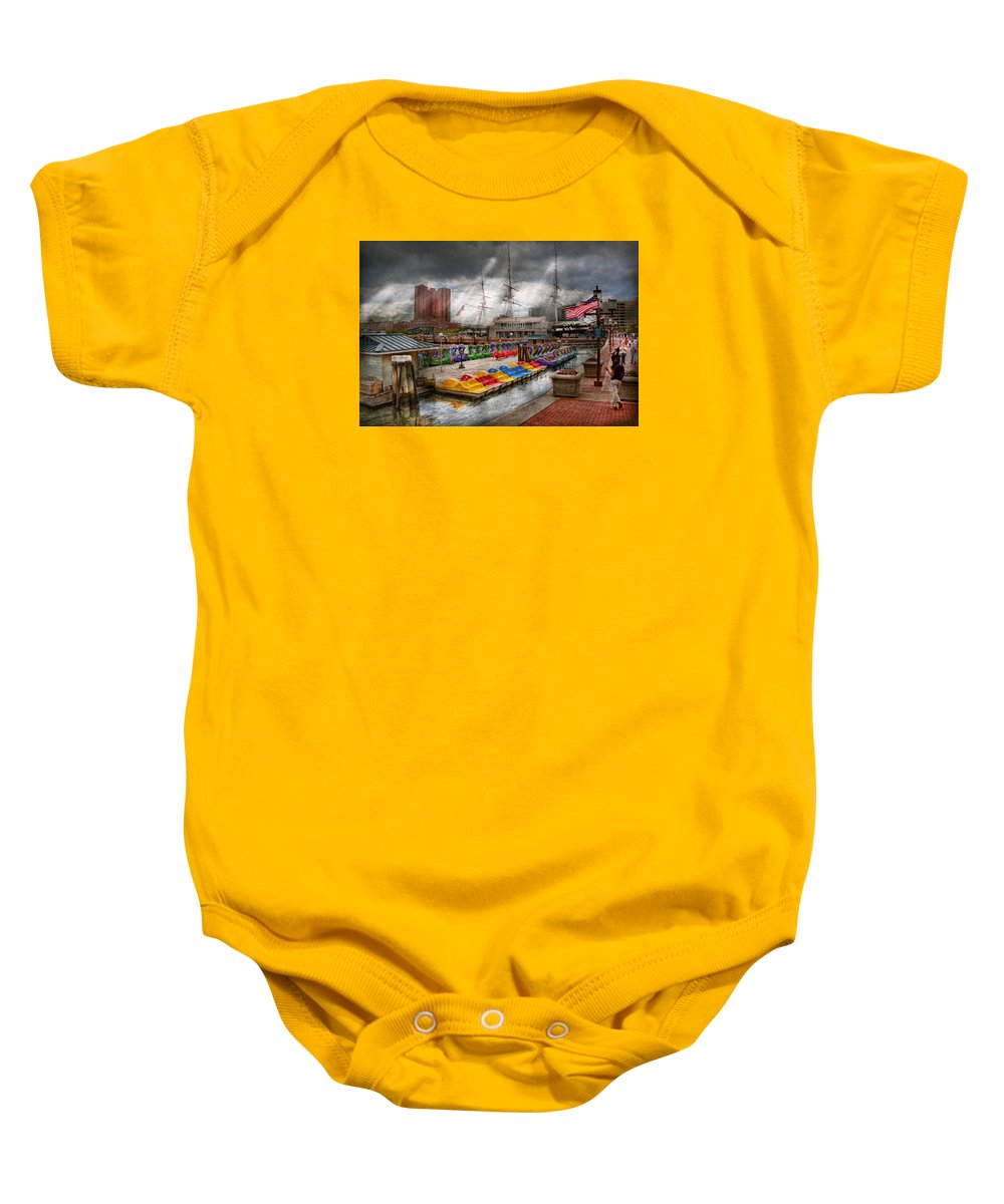 Baltimore Baby Onesie featuring the photograph City - Baltimore Md - Modern Maryland by Mike Savad