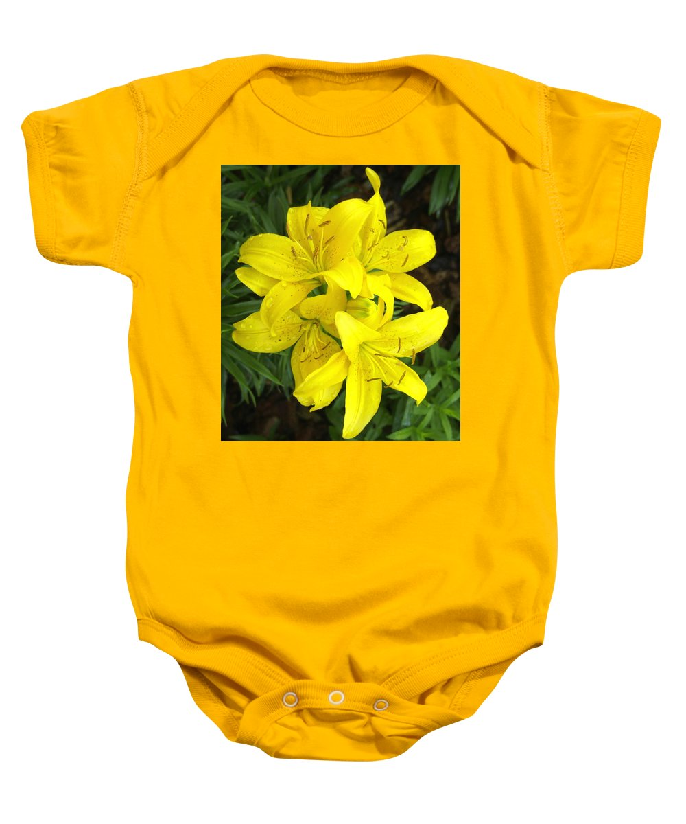 Nature Baby Onesie featuring the photograph Cluster Of Yellow Lilly Flowers In The Garden by Amy McDaniel