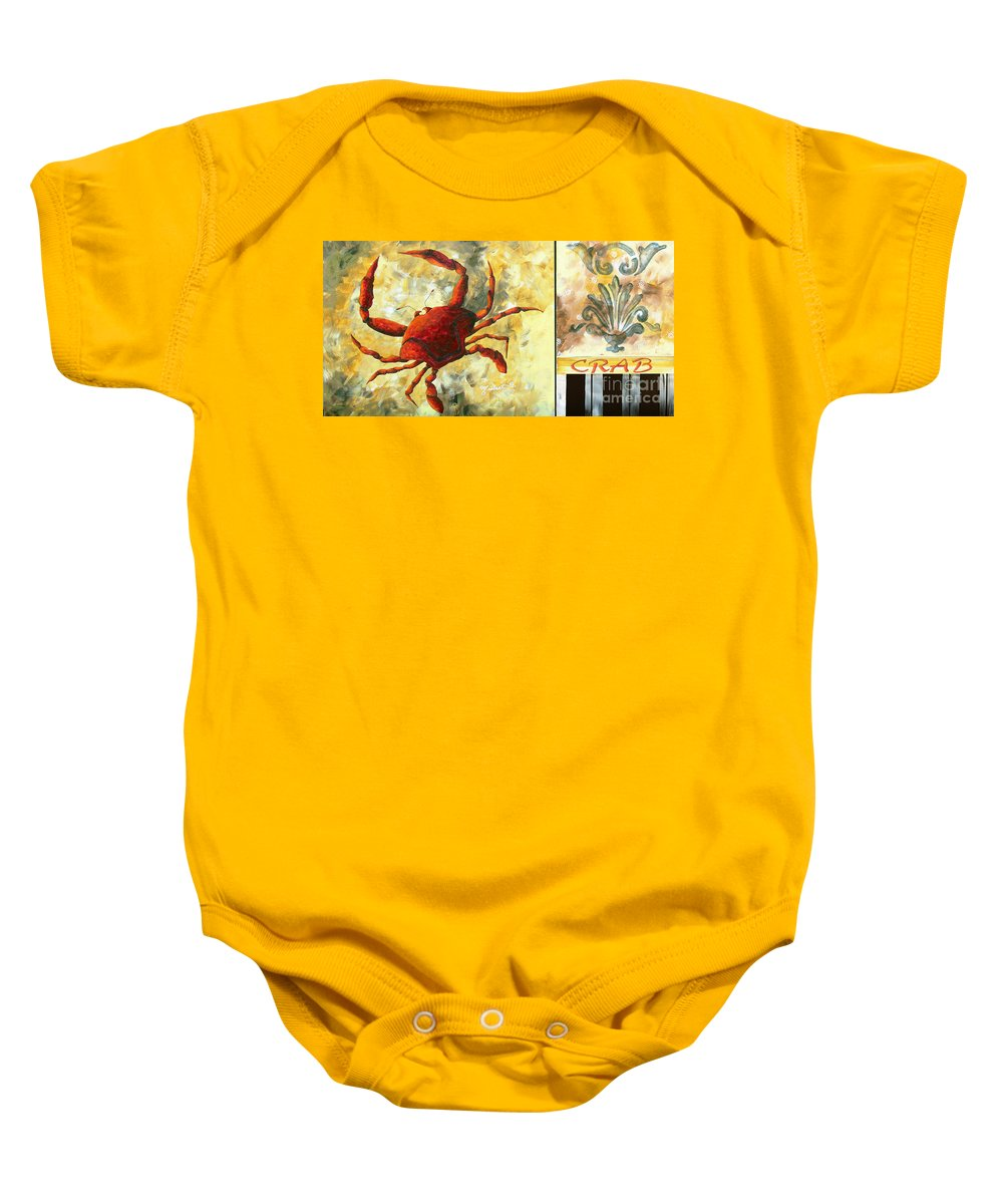Coastal Baby Onesie featuring the painting Coastal Crab Decorative Painting Original Art Coastal Luxe Crab By Madart by Megan Duncanson