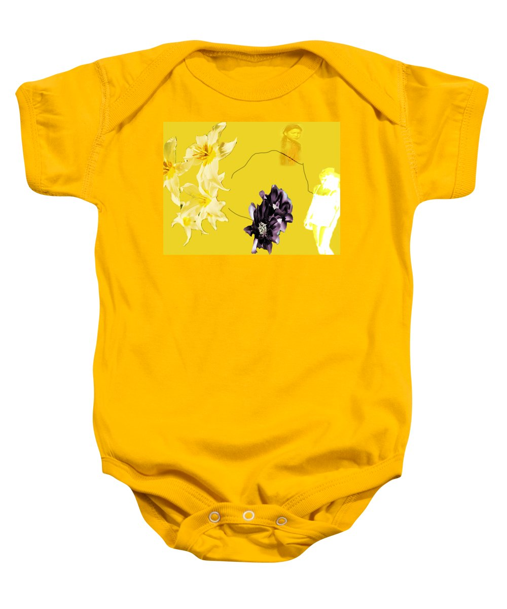 Baby Onesie featuring the digital art Collage In Yellow by Cathy Anderson
