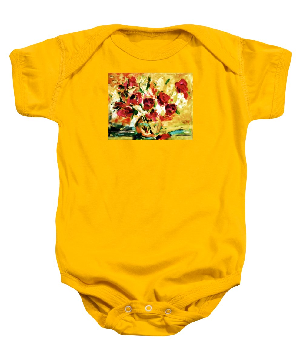 Abstract Baby Onesie featuring the painting Colorful Spring Bouquet - Abstract by Georgiana Romanovna