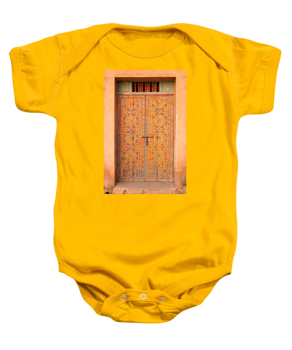 Door Baby Onesie featuring the photograph Colourful Entrance Door Sale Rabat Morocco by Ralph A Ledergerber-Photography