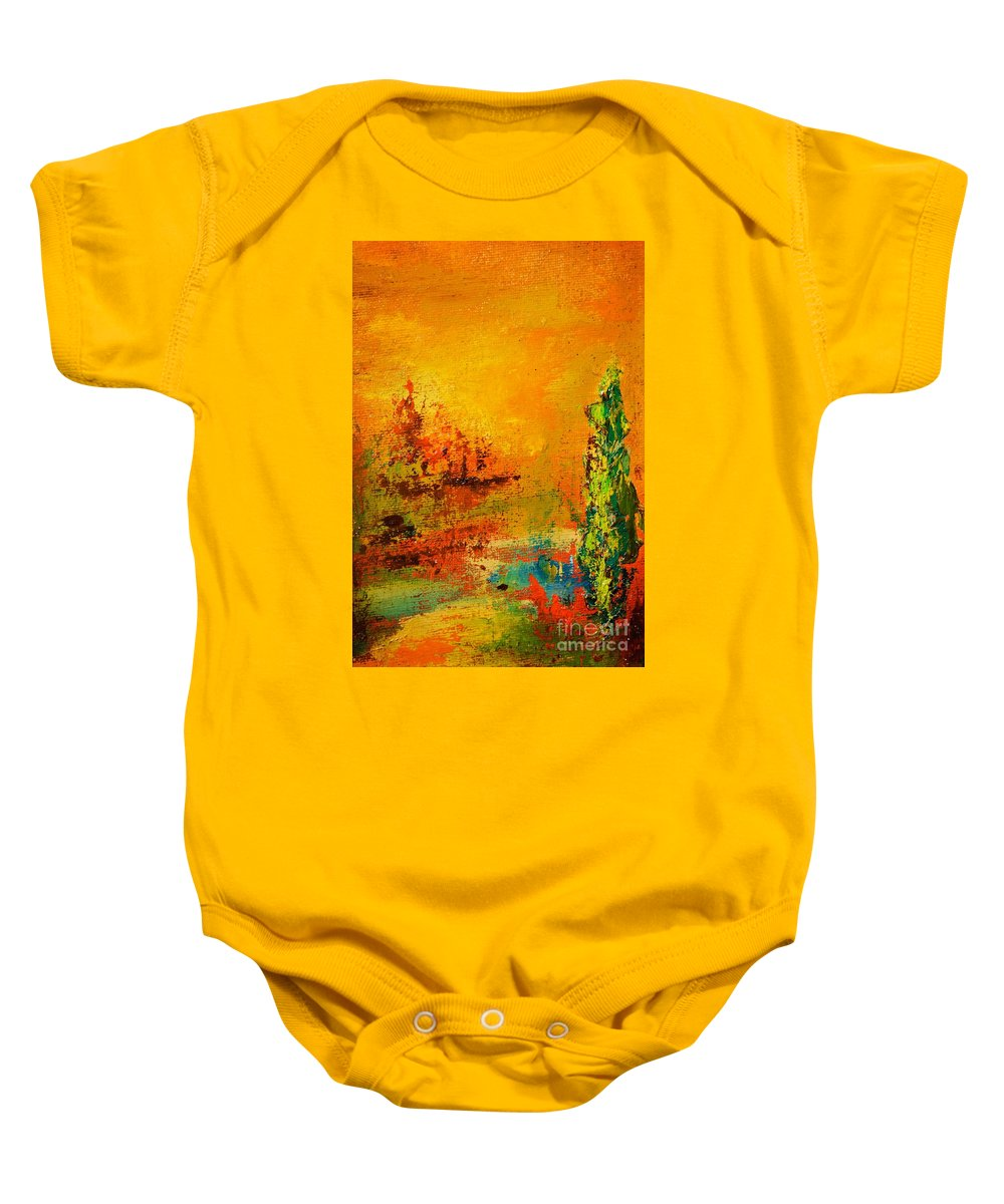 Palette Knife Baby Onesie featuring the painting Cypress Gold by Jodi Monahan