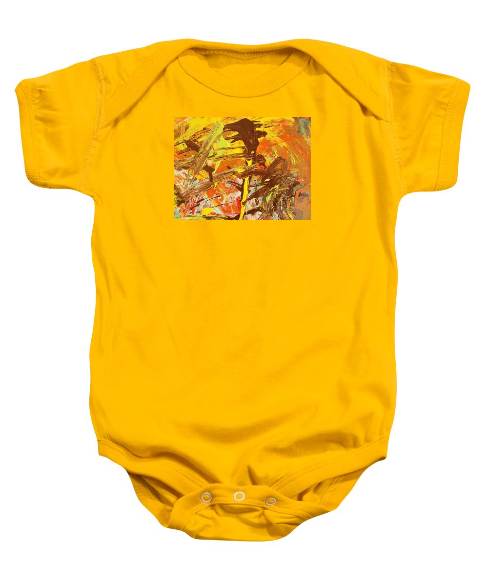 Original Baby Onesie featuring the painting D Competition by Artist Ai