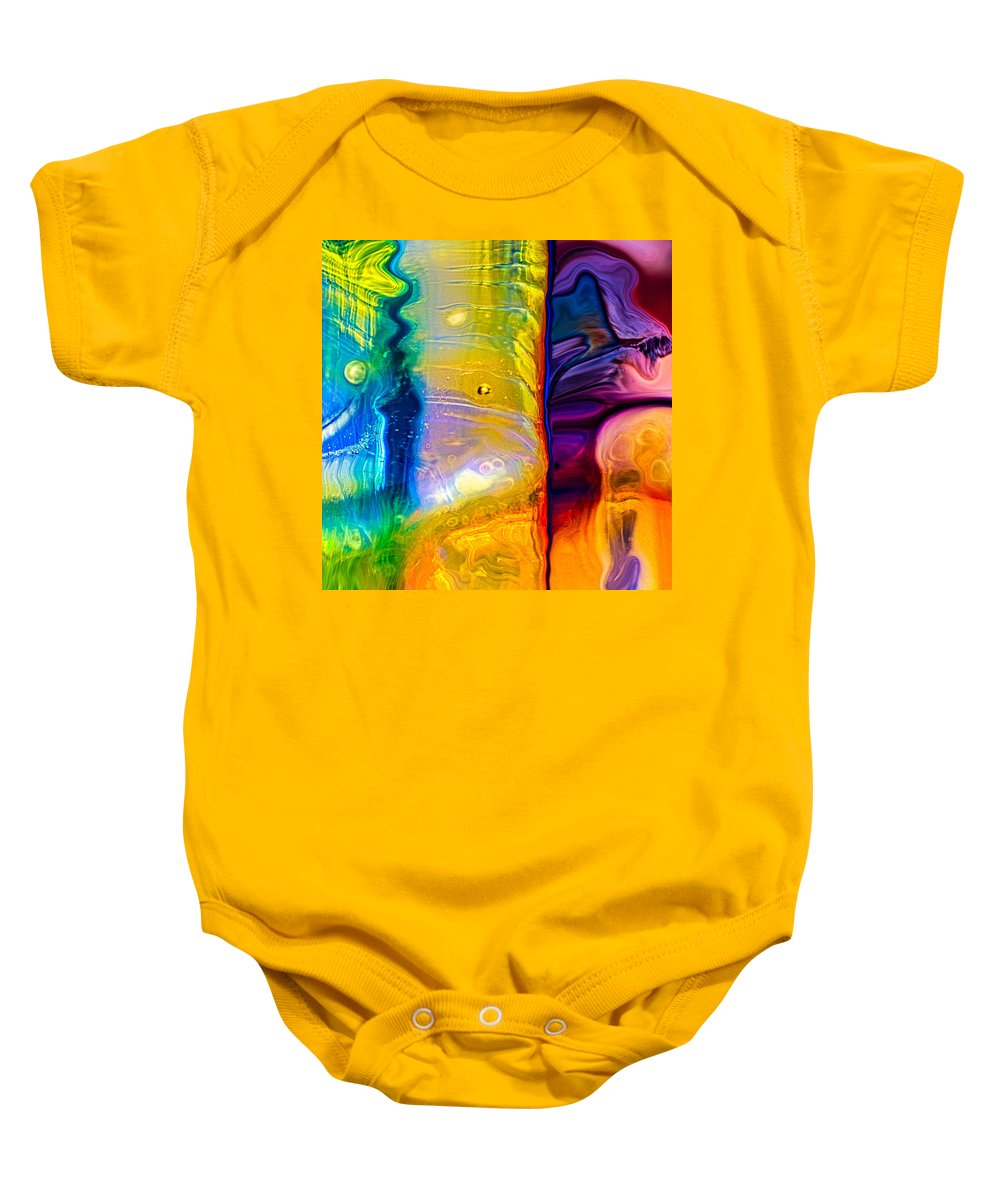 Blue Baby Onesie featuring the painting Day And Night by Omaste Witkowski