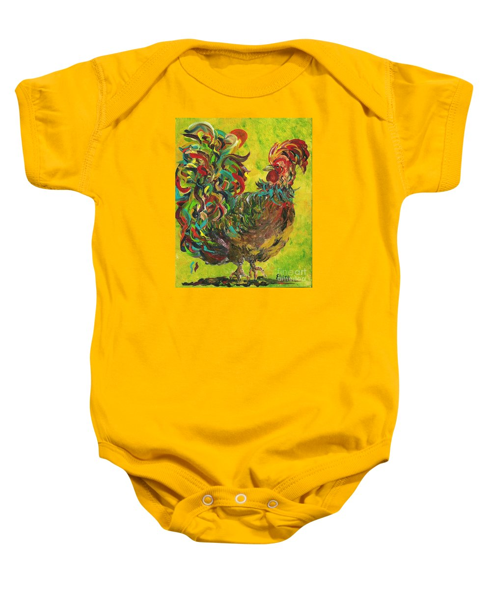 Rooster Baby Onesie featuring the painting De Colores Rooster #2 by Eloise Schneider