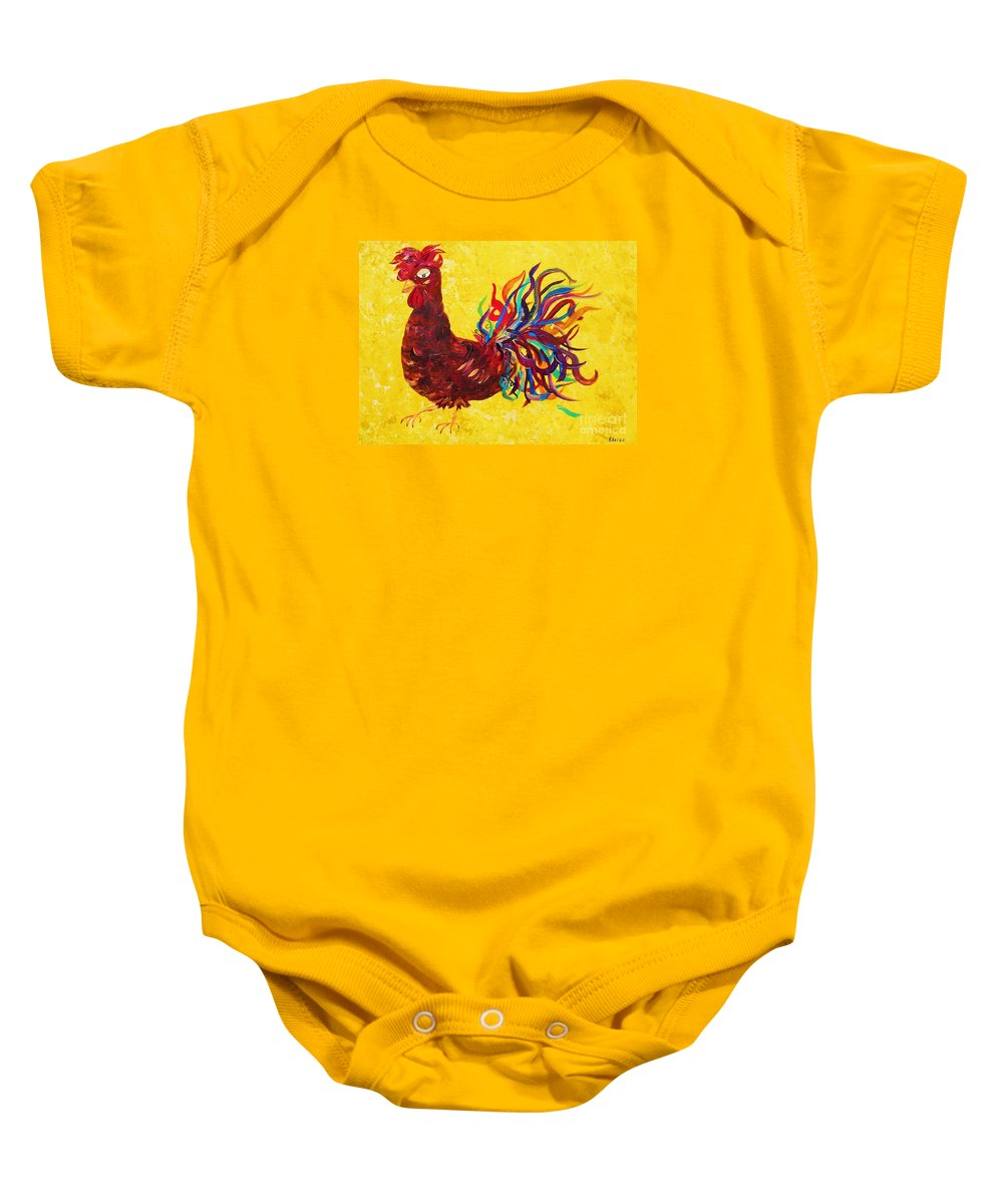 Rooster Baby Onesie featuring the painting De Colores Rooster by Eloise Schneider