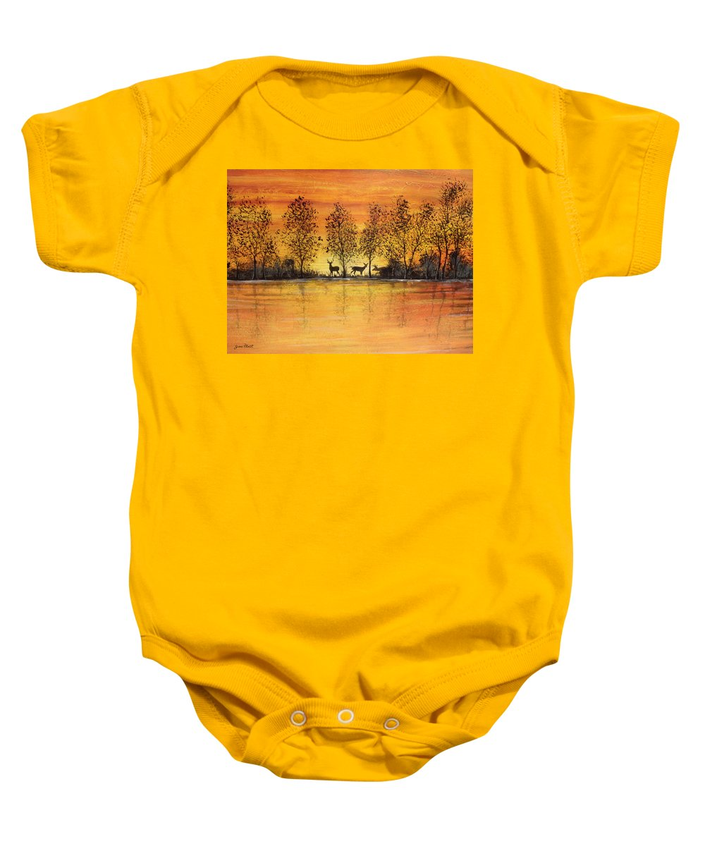 Deer Painting Baby Onesie featuring the painting Deer At Sunset-2 by Jean Plout