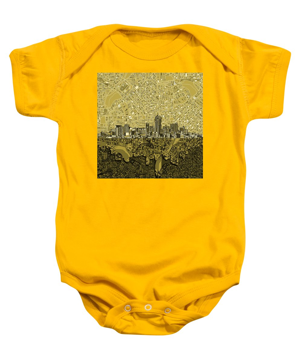 Denver Skyline Baby Onesie featuring the painting Denver Skyline Abstract 8 by Bekim Art