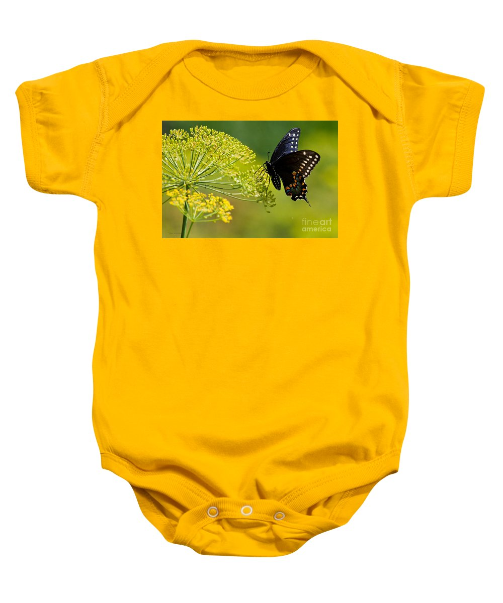 Butterfly Baby Onesie featuring the photograph Dill And The Butterfly by Jan Killian
