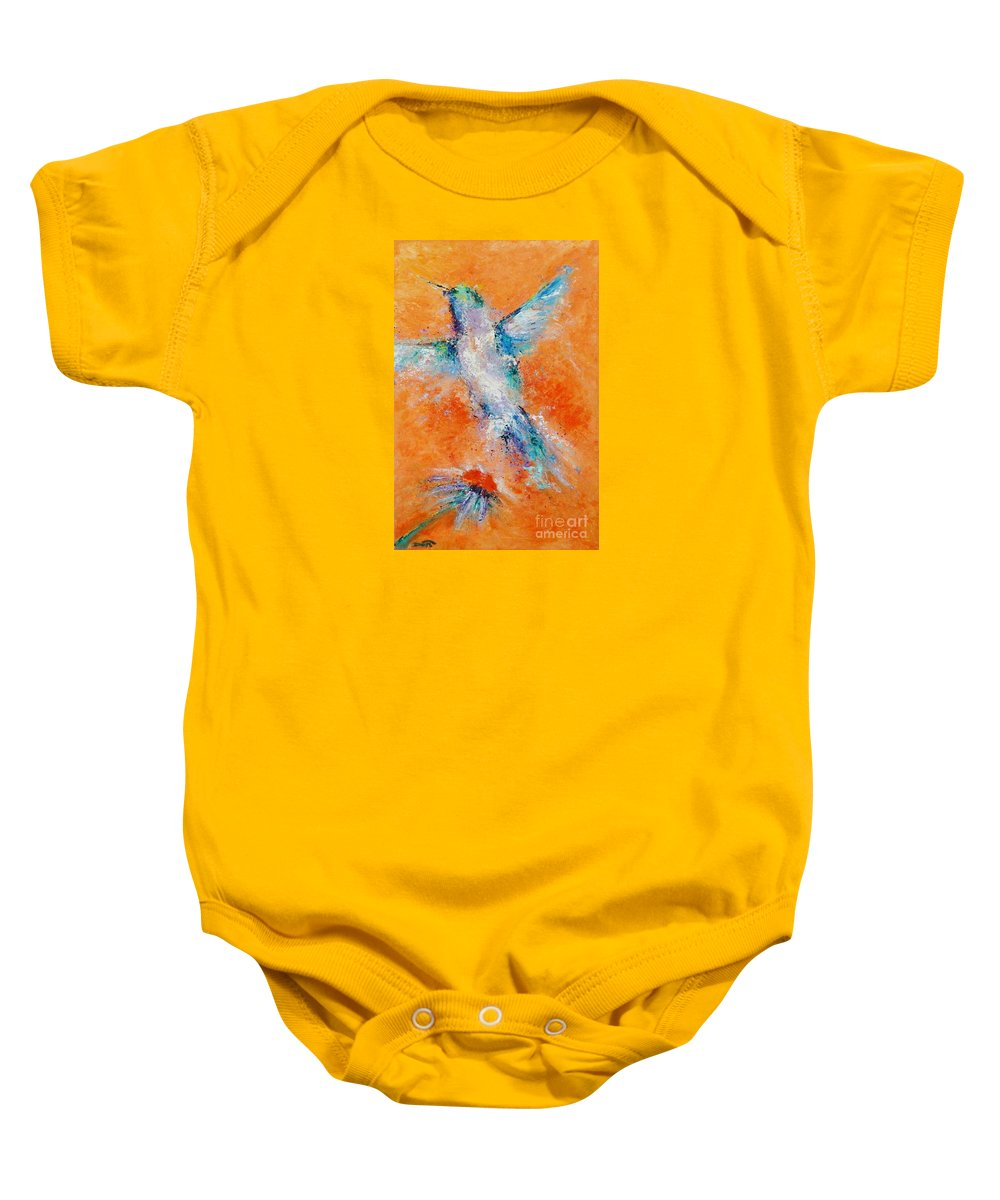 Hummingbird Baby Onesie featuring the painting Don't Fly Away by Dan Campbell