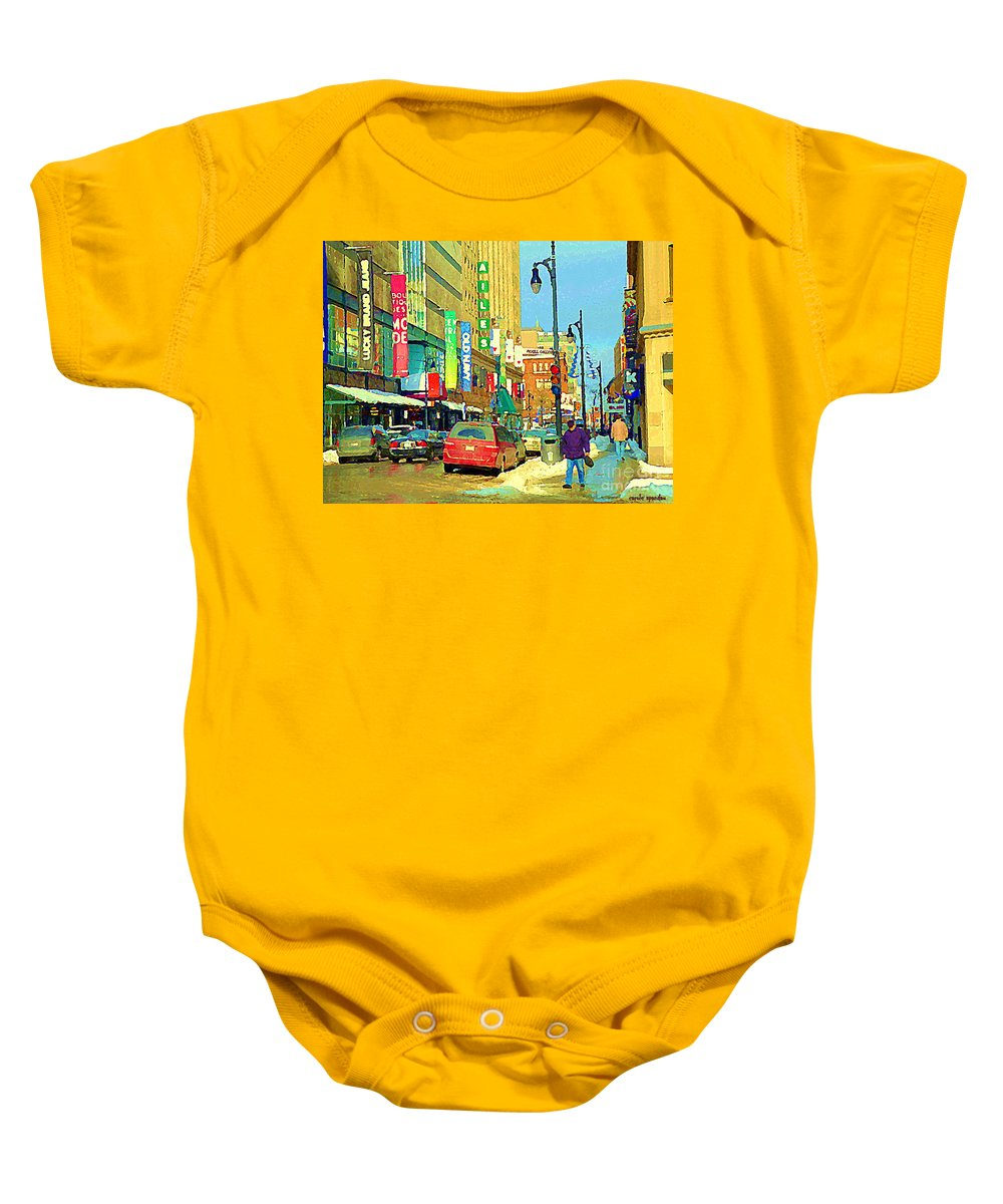 Downtown Montreal Baby Onesie featuring the painting Downtown Montreal Eatons Centre Complex Les Ailes Old Navy Rue Mcgill College City Scenes C Spandau by Carole Spandau