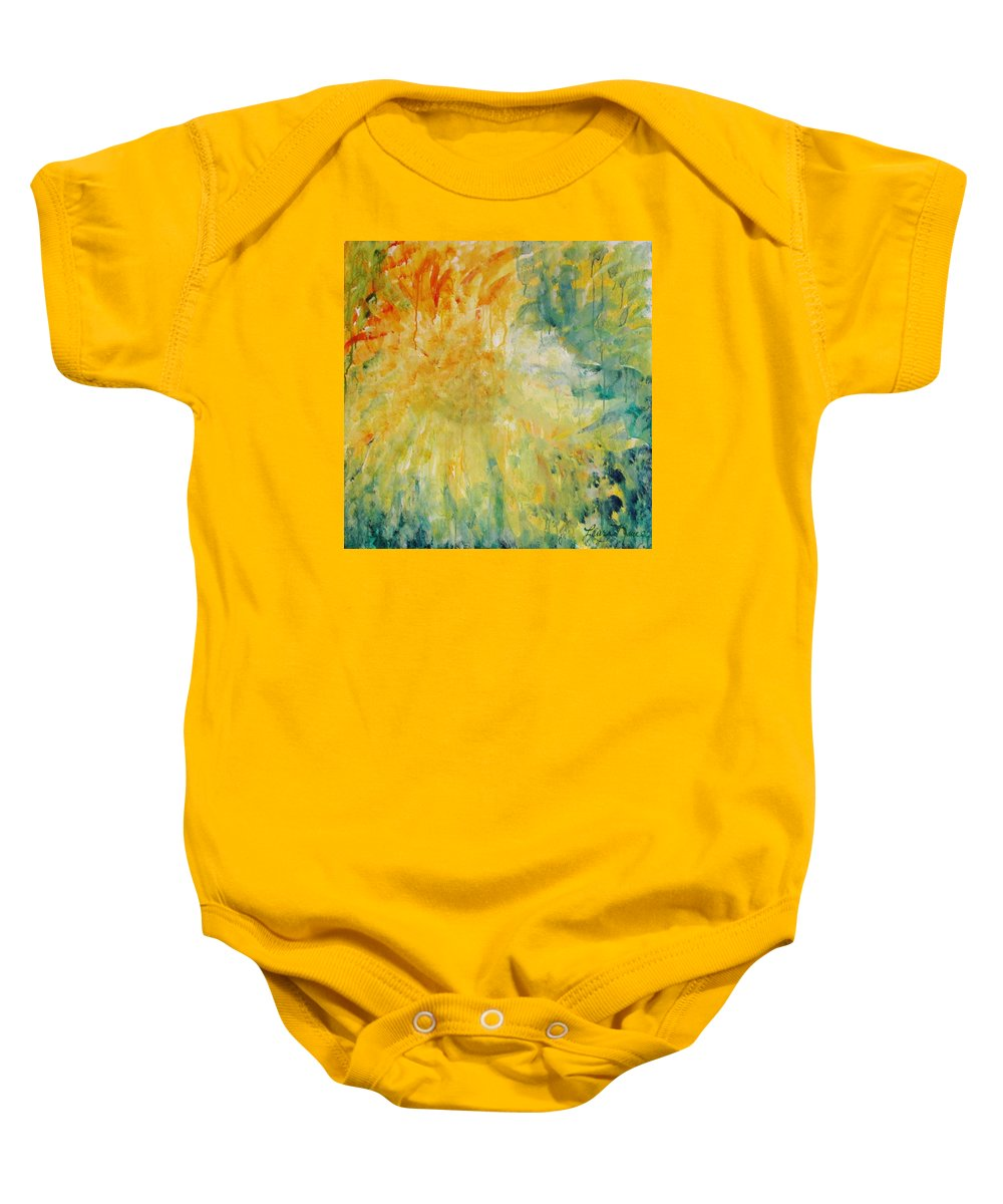 Sunflowers Baby Onesie featuring the painting Drizzle Dazzle by Laura Nance
