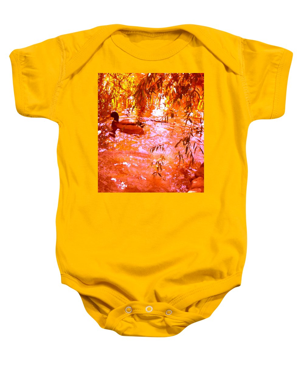 Landscapes Baby Onesie featuring the painting Duck In Warm Light by Amy Vangsgard