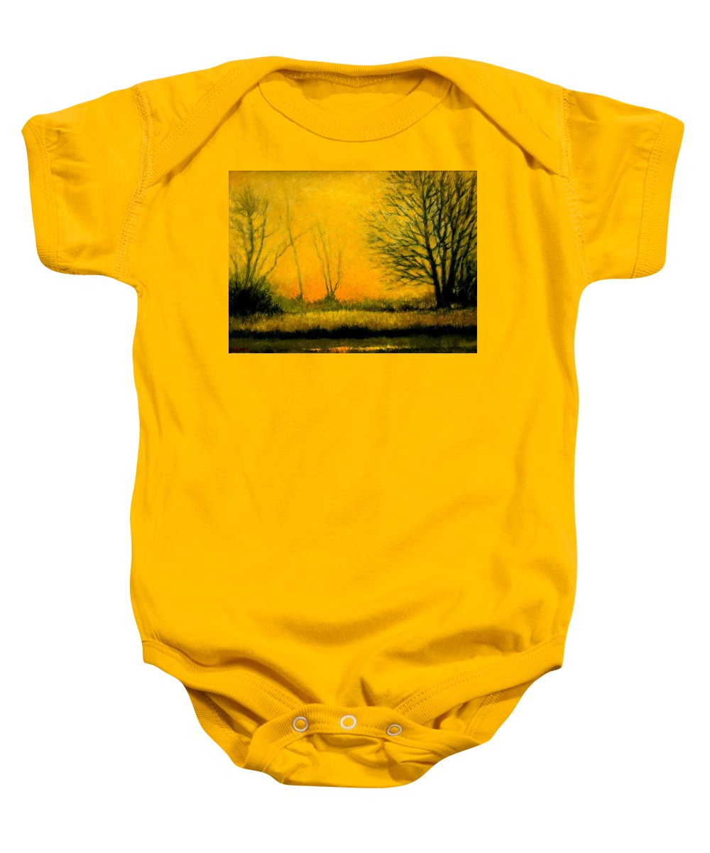 Landscape Baby Onesie featuring the painting Dusk At The Refuge by Jim Gola