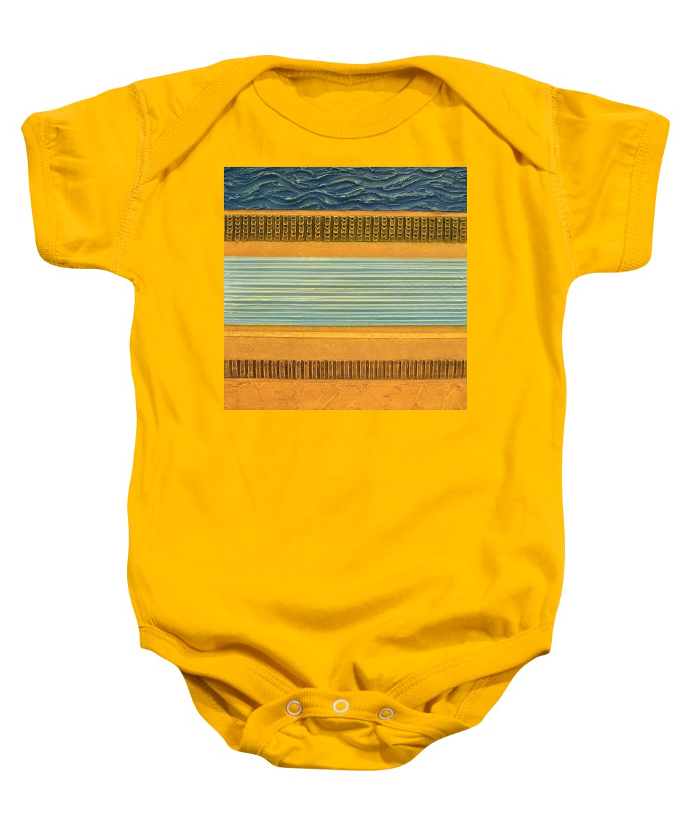 Abstract Baby Onesie featuring the painting Earth Layers Abstract Ll by Michelle Calkins