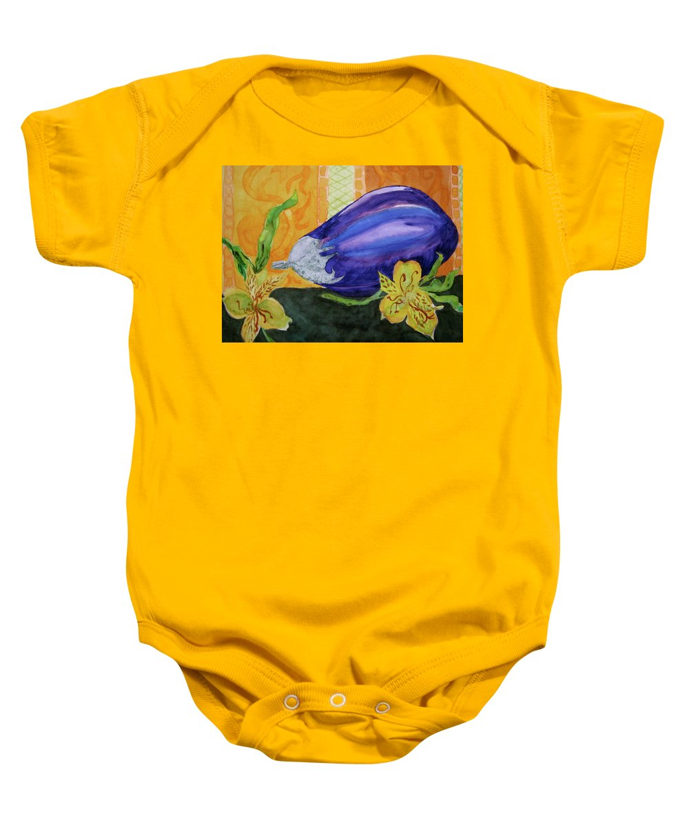 Eggplant Baby Onesie featuring the painting Eggplant And Alstroemeria by Beverley Harper Tinsley