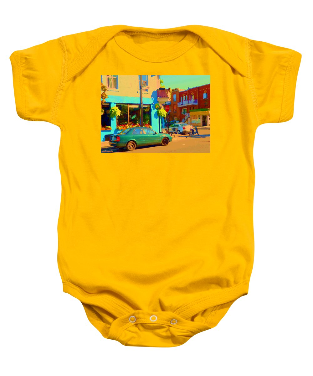 Montreal Baby Onesie featuring the painting Elses Pub Cafe Plateau Montreal Corner Roy And De Bullion City Scene Art Of Montreal Carole Spandau by Carole Spandau
