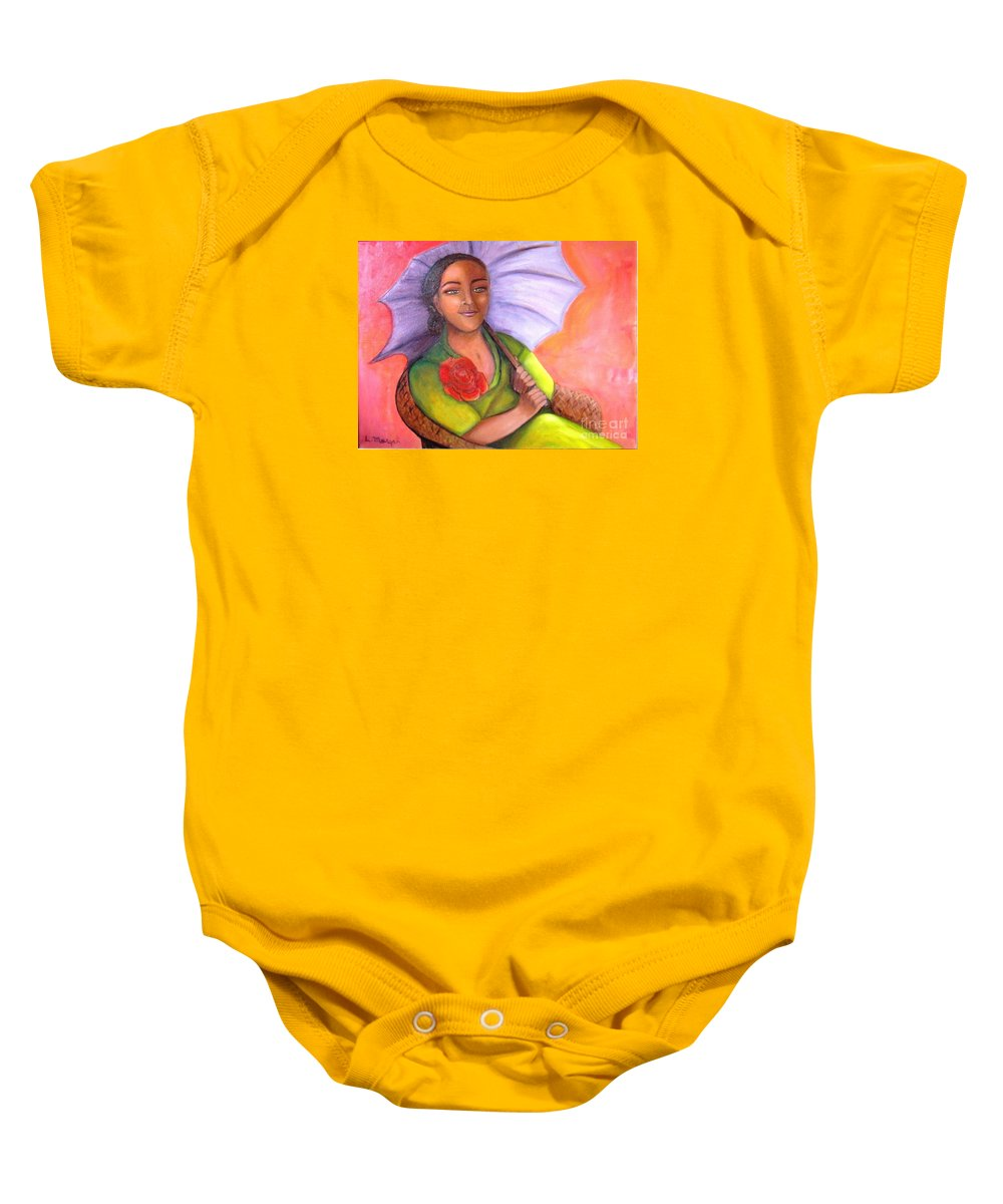 Rose Baby Onesie featuring the painting Enchanted Rose by Laurie Morgan