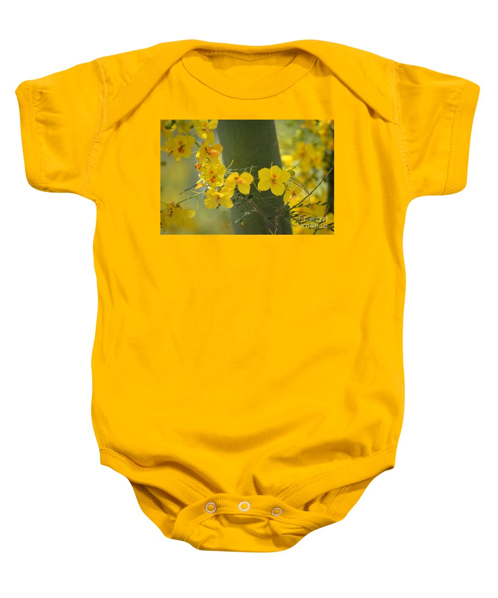 Yellow Flowers Baby Onesie featuring the photograph Enchantment by Deb Halloran