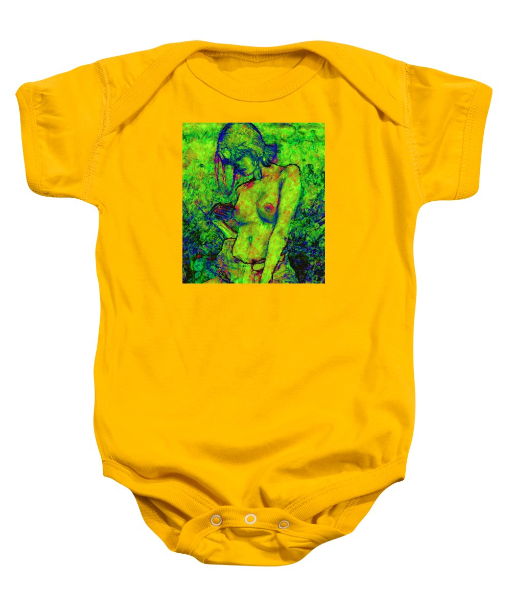 Woman Standing Baby Onesie featuring the digital art Eve by Marcus Lewis
