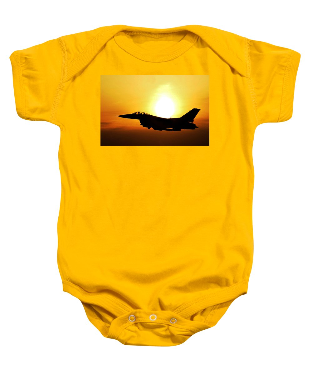 Science Baby Onesie featuring the photograph F-16 Fighting Falcon Flying Over Korea by Science Source