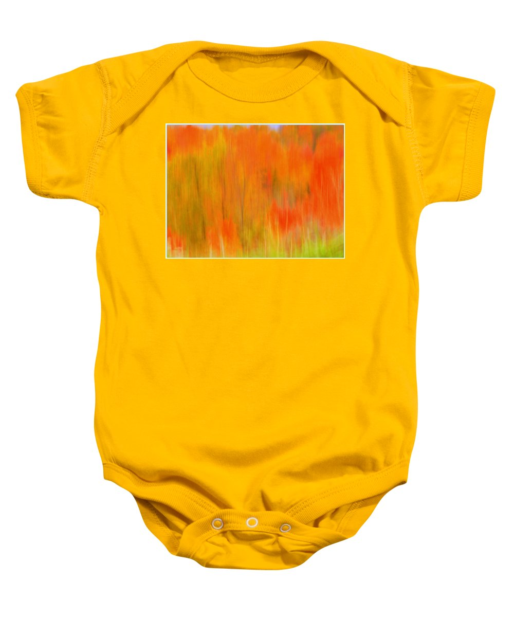 Fall Foliage Baby Onesie featuring the photograph Fall Foliage Abstract by Lingfai Leung