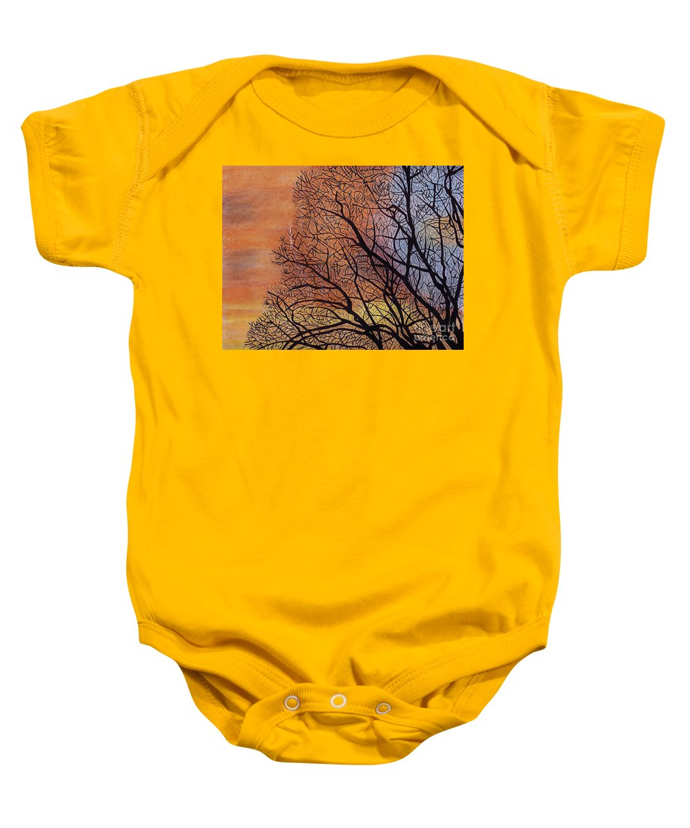 Sunset Baby Onesie featuring the drawing Fall Sunset by D Hackett