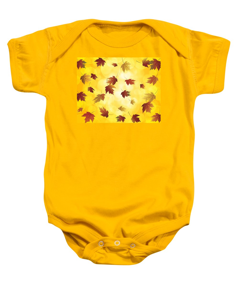 Falling Baby Onesie featuring the digital art Falling Maple Leaves In Autumn Illustration by Jit Lim