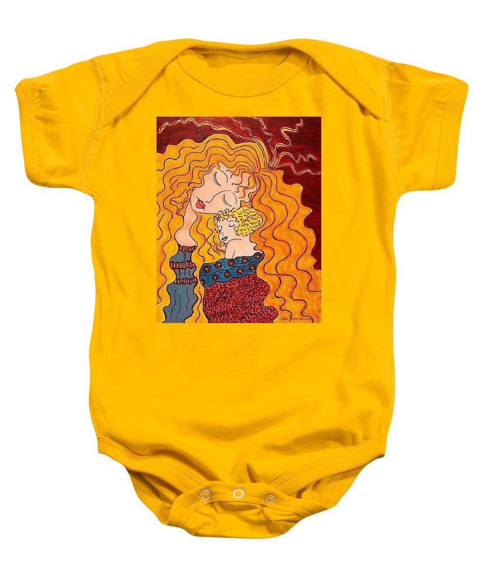 Mother Baby Onesie featuring the painting Father's View by Janice Heinzelman
