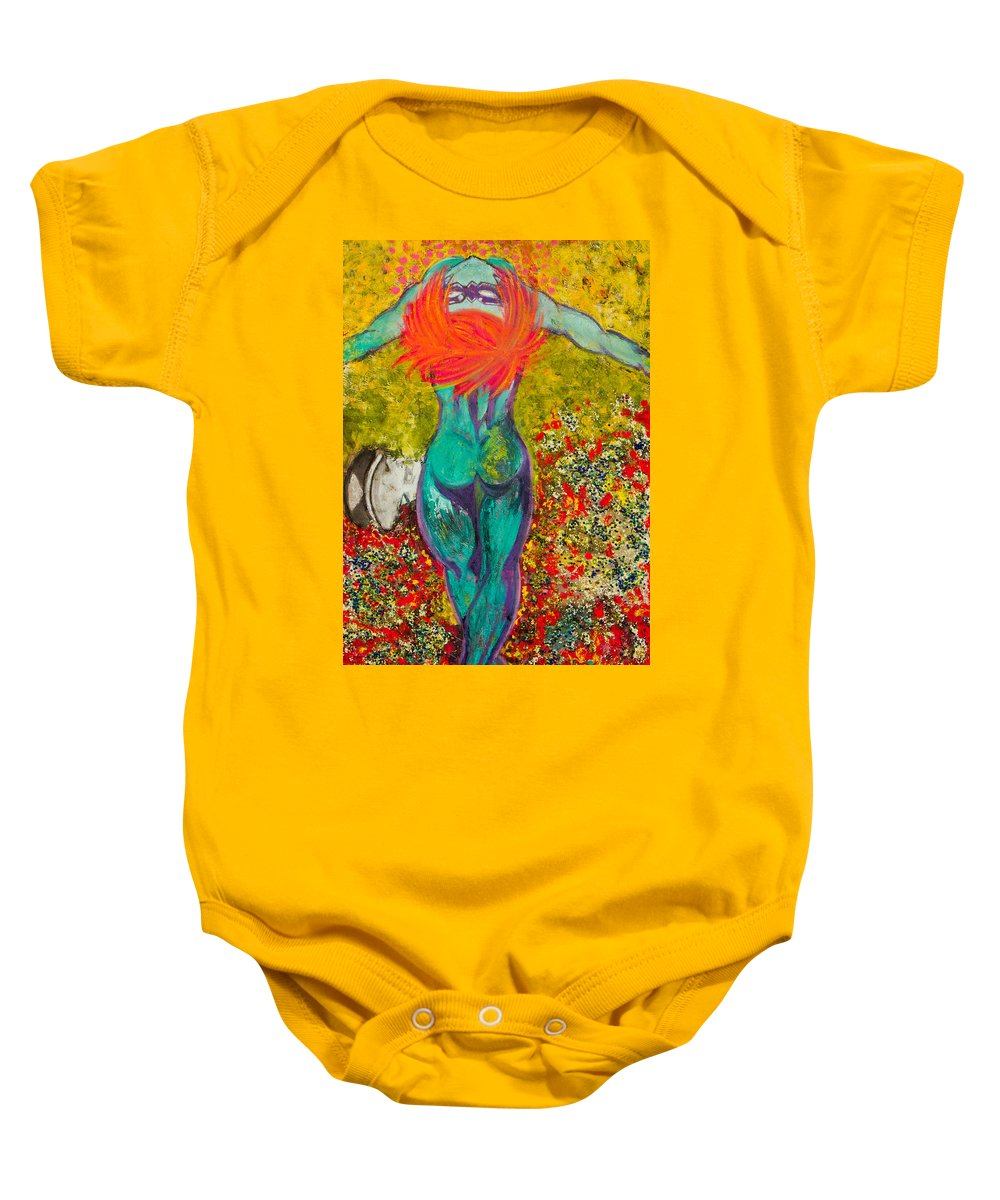 Female Baby Onesie featuring the painting Females Fly Over Their Mates by Ryanne Bevenger
