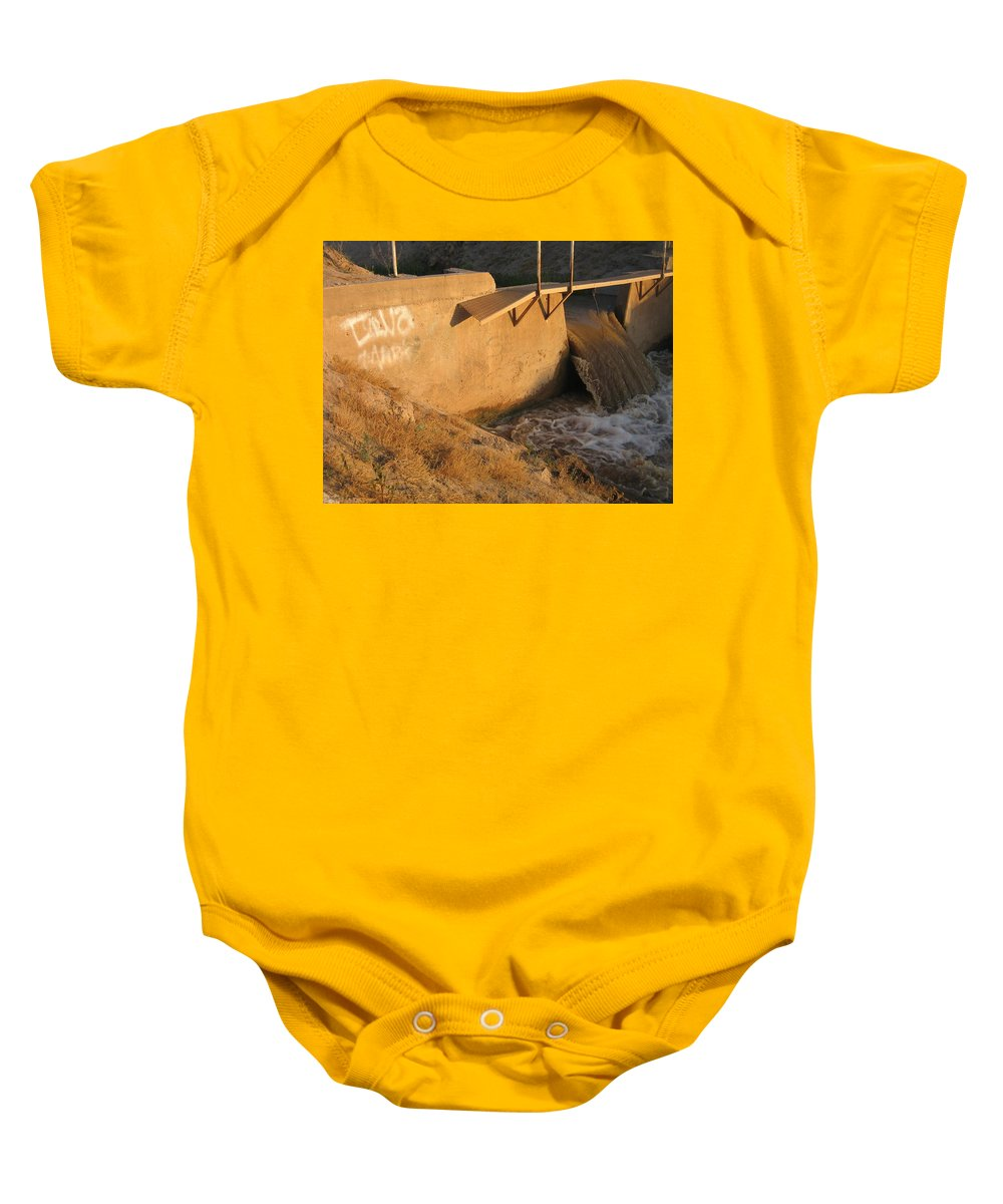 Film Homage Cinematographer John A. Alonzo Chinatown 1974 Waterway Casa Grande Arizona 2005 Baby Onesie featuring the photograph Film Homage Cinematographer John A. Alonzo Chinatown 1974 Waterway Casa Grande Arizona 2005 by David Lee Guss