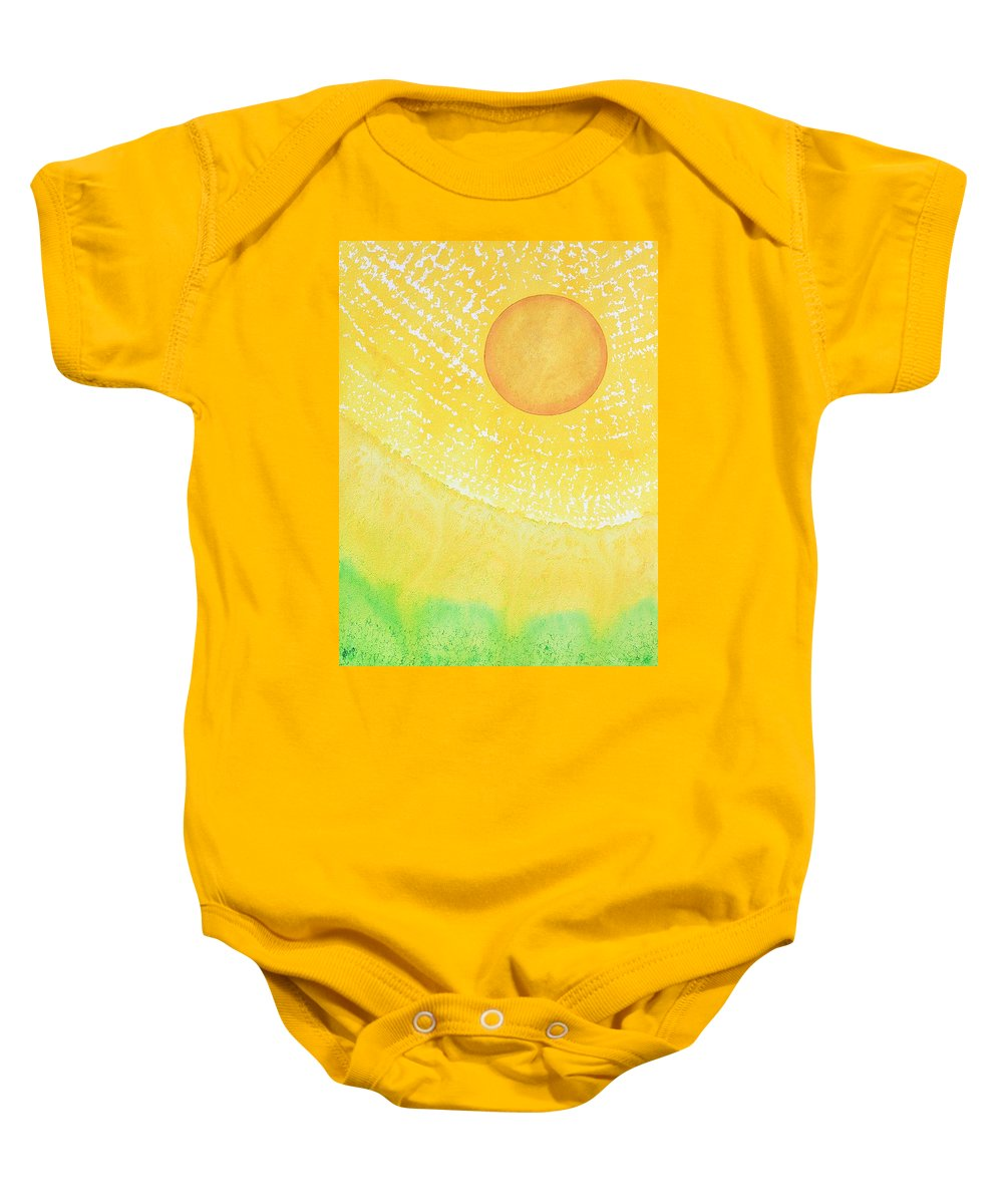 Ink Baby Onesie featuring the painting First Light Original Painting by Sol Luckman