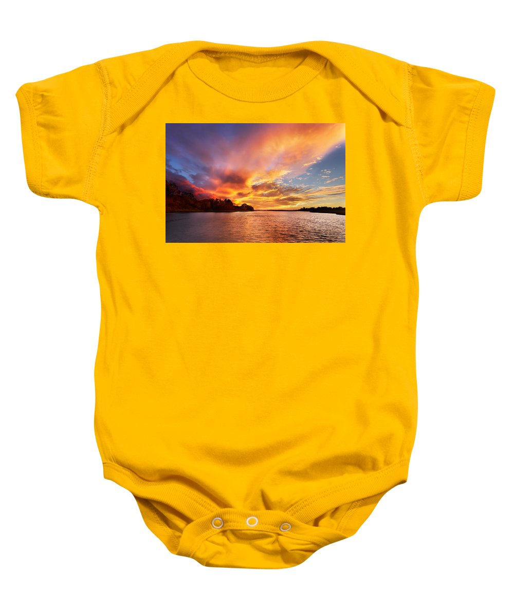 Sunset Baby Onesie featuring the photograph First Of November by Jonathan Steele