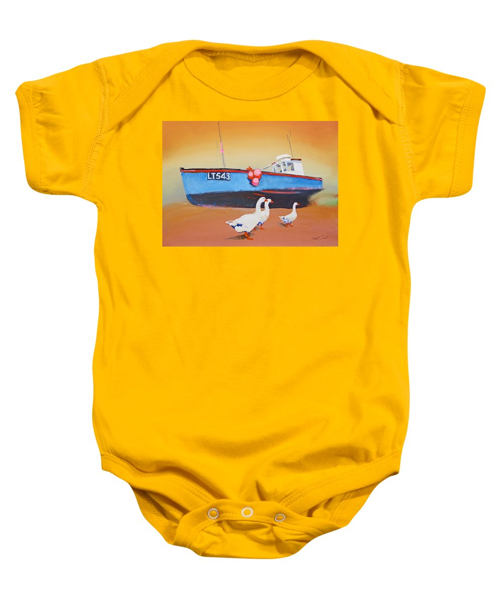 Geese Baby Onesie featuring the painting Fishing Boat Walberswick With Geese by Charles Stuart
