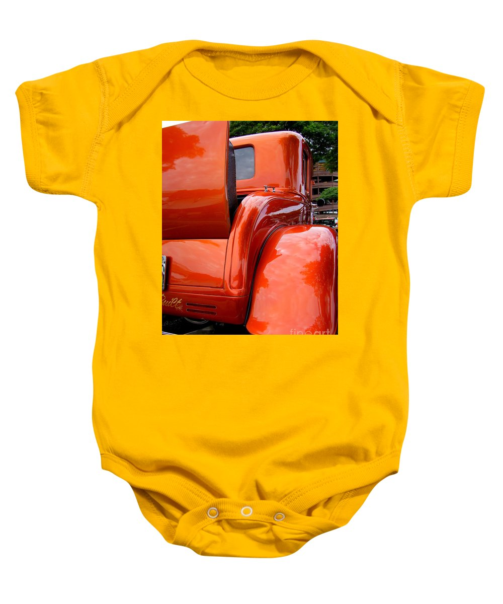 Ford V8 Baby Onesie featuring the photograph Ford V8 Rear View With Rumble Seat by Mary Deal