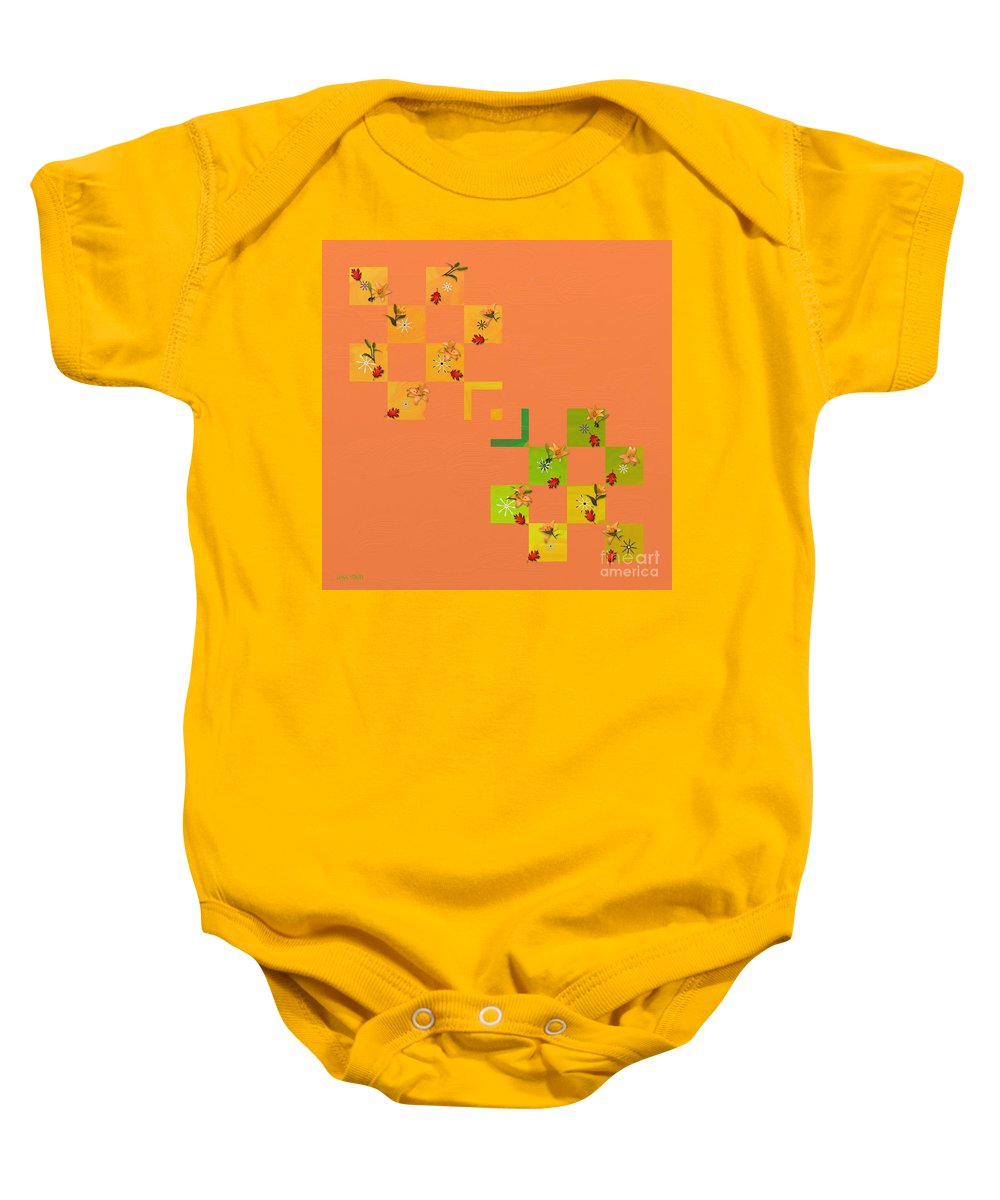 French Lillies Baby Onesie featuring the painting French Lillies Abstract by Liane Wright