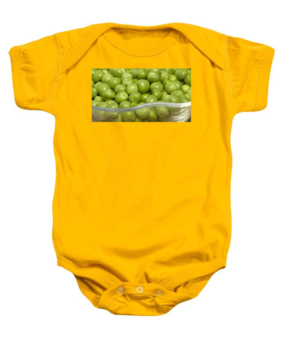 Green Peas Baby Onesie featuring the photograph Fresh Green Peas by Iris Richardson