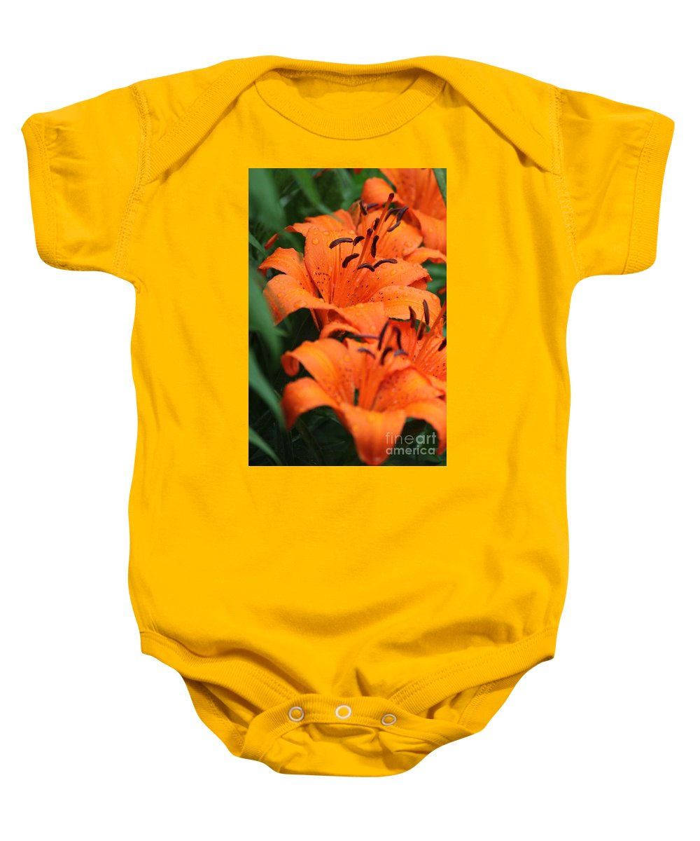 Orange Baby Onesie featuring the photograph Freshly Showered Tiger Lilys by Jennifer E Doll