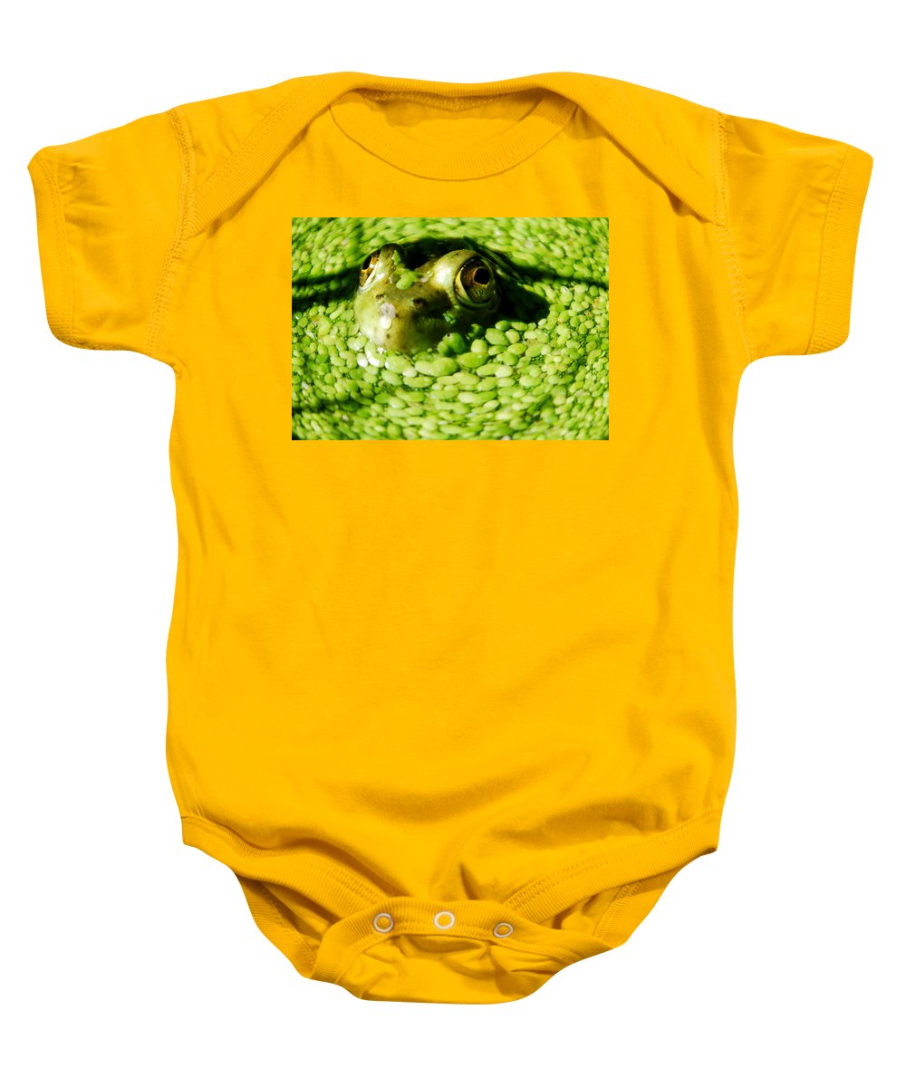 Green Algae Baby Onesie featuring the photograph Frog Eye's by Optical Playground By MP Ray